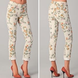 COH Cream High Waisted Mandy Floral Roll Up Jeans